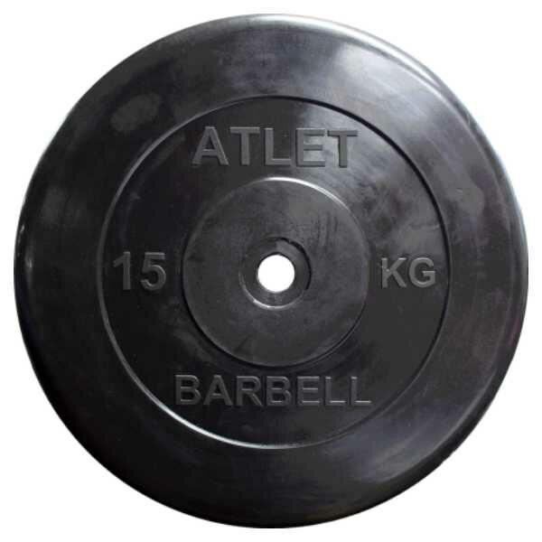 Диск обрезиненный BARBELL ATLET 15 кг
